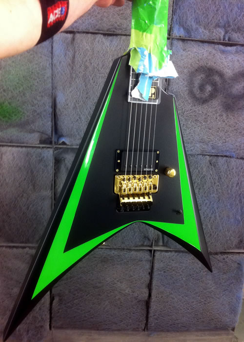 Custom painted neon Randy Rhodes Flying V