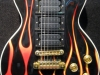 Custom painted hot rod flames on a black Les Paul