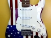 Custom painted American flag motif on a Strat